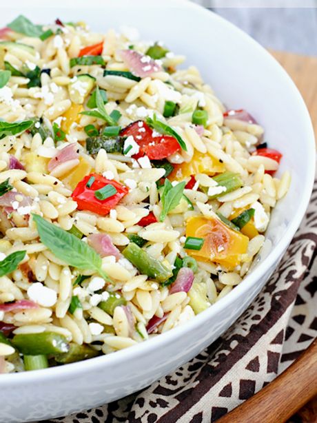 Savory Orzo with Vegetables (vegan). Size: ½ Pan