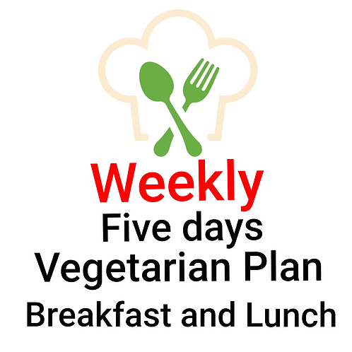 FIVE DAYS VEGETARIAN PLAN, BREAKFAST AND LUNCH. 10 Meals
