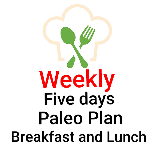 FIVE DAYS PALEO PLAN,  BREAKFAST AND LUNCH. 10 Meals