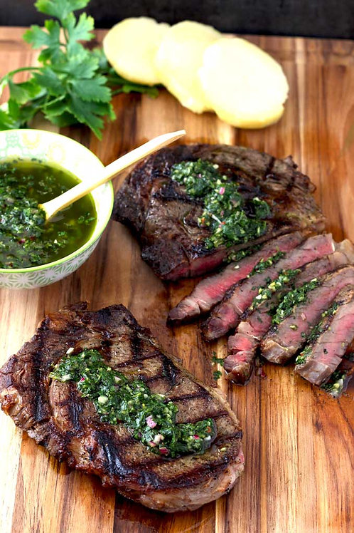 Ribeye Steak Chimichurri. Size Full Pan