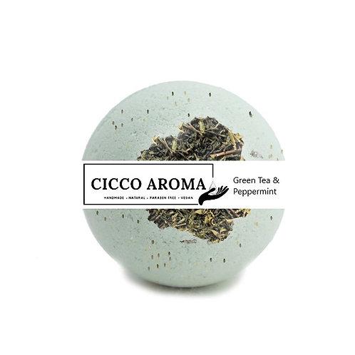 Green Tea and Peppermint Bath Bomb