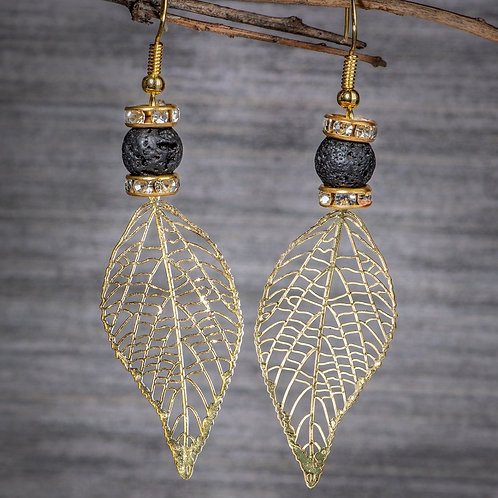 Gold Leaf Aromatherapy Earings