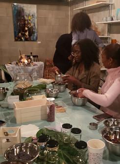 Knowledge is Self Love - Guests customizing their bath teas