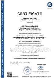 Certificate - AD - 2000.Merkblatt W 0 PED2014/68/EU