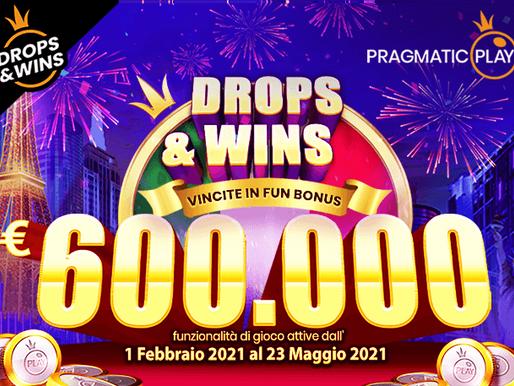DROPS & WINS 2021 CON 600.000€ IN PALIOBONUS GIORNALIERI RANDOM E TORNEI SETTIMANALI