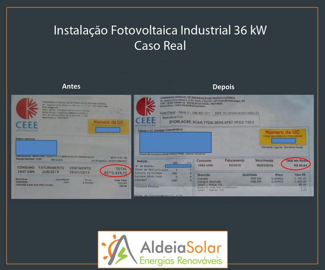 Instalação Fotovoltaica Industrial 36 kW