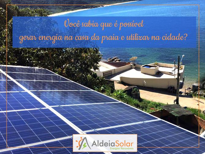 Você sabia que é possível gerar energia na casa da praia e utilizar na cidade?