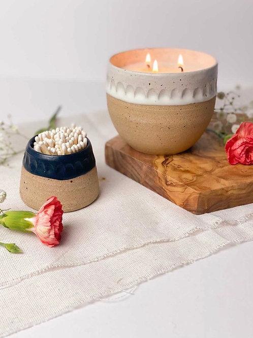 Otter Candle Co x D Moon Ceramics -  White Pot