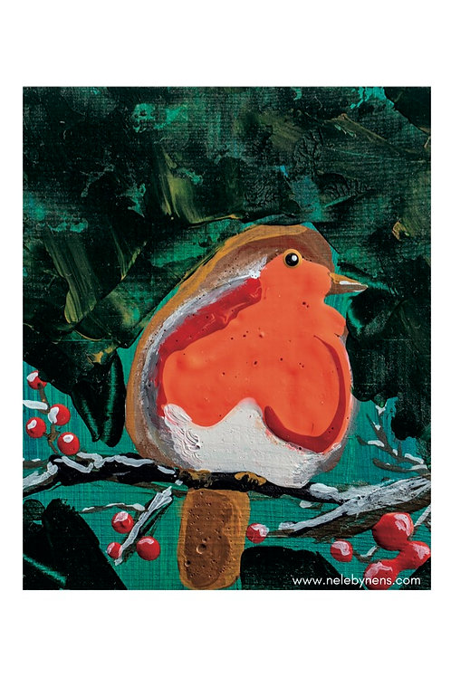 Postkaart roodborstje met envelop