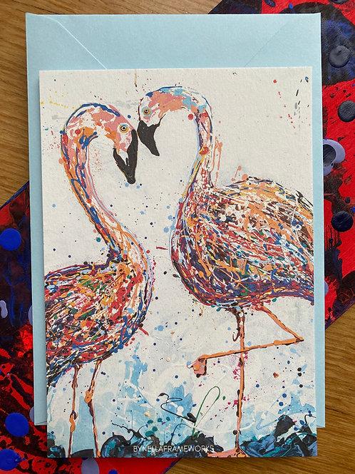 Postkaart flamingo met envelop