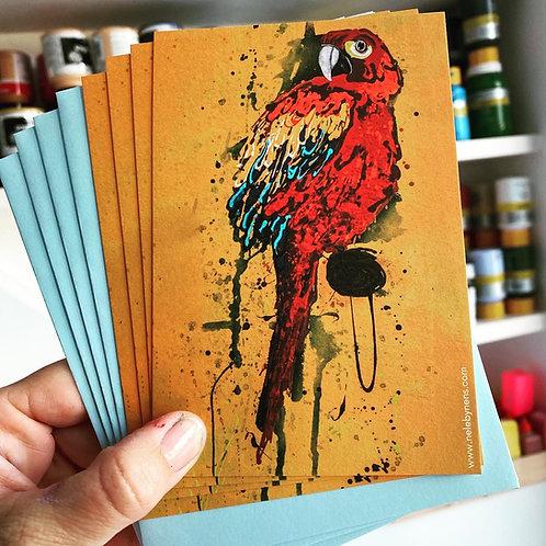 Set van 4 postkaarten met blauwe omslag