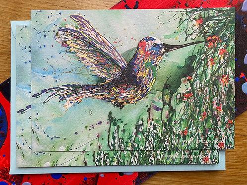 Postkaart kolibrie met envelop
