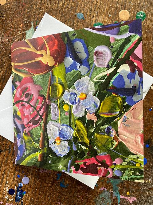 Dubbele wenskaart bloemen mét envelop