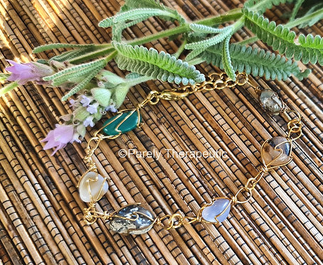 Gold Wire Wrapped Gemstone Crystal Bracelet