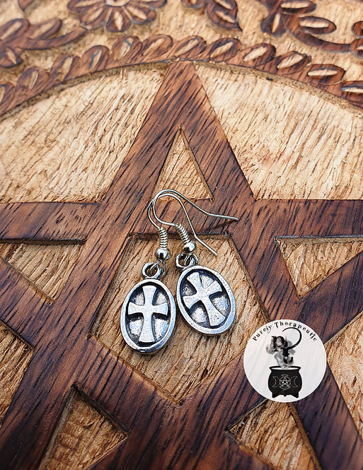 Cross on Shield Earrings