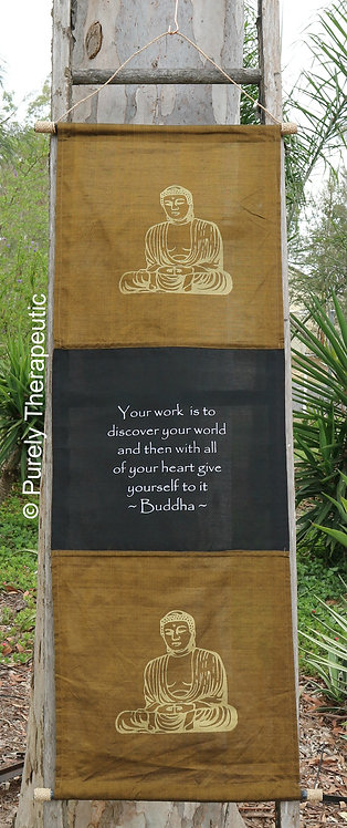 Buddha Inspirational Quote Wall Scroll Flag Moss color