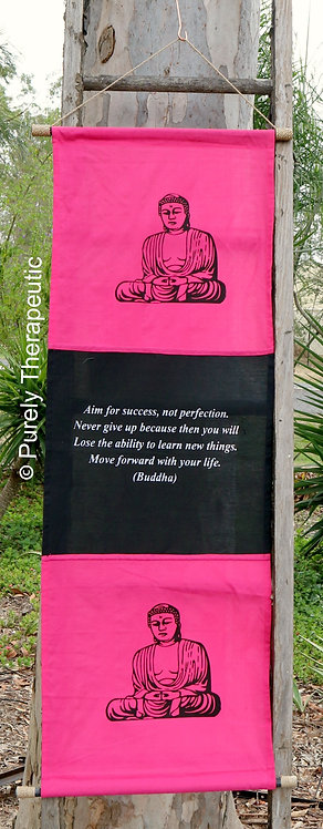 Pink Banner Sign Wall Scroll Flag Inspirational Quote Buddha