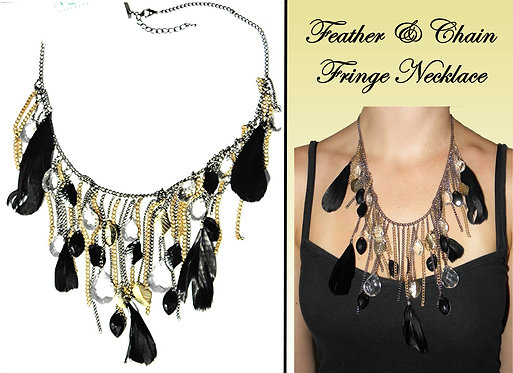 2 Tone Fringe Chain & Charm Style Necklace