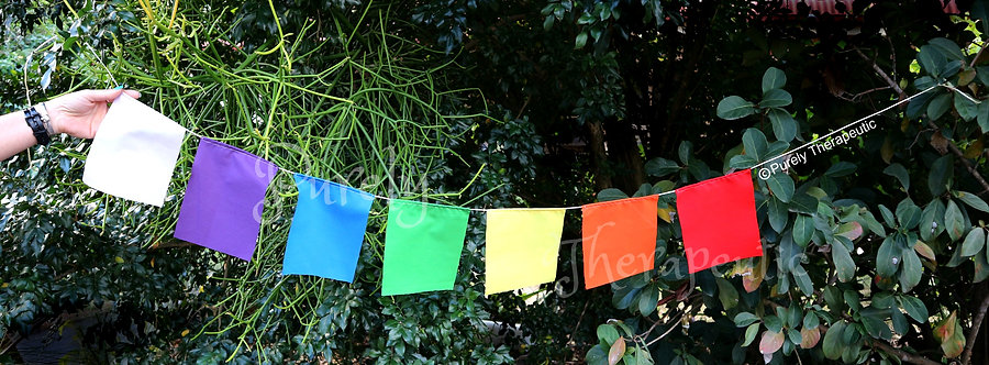 Harmony Chakra Flags handmade by Purely Therapeutic