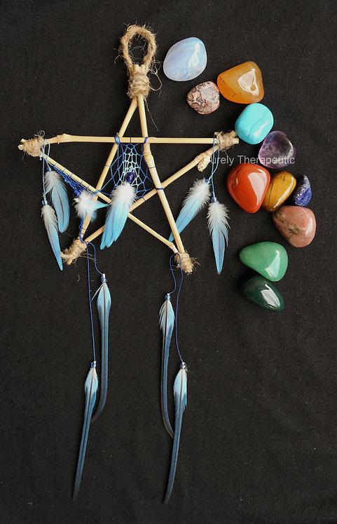 Pentagram_Dream_Catcher_Blue_Handmade
