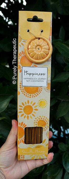 Happiness Vanilla Honey Incense Sticks and Ceramic Holder