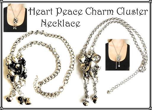 Heart Peace Charm Cluster Necklace