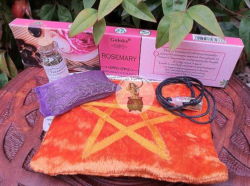Wiccan Orange Pentagram Velvet Purse with Rosemary Altar Spell Kit