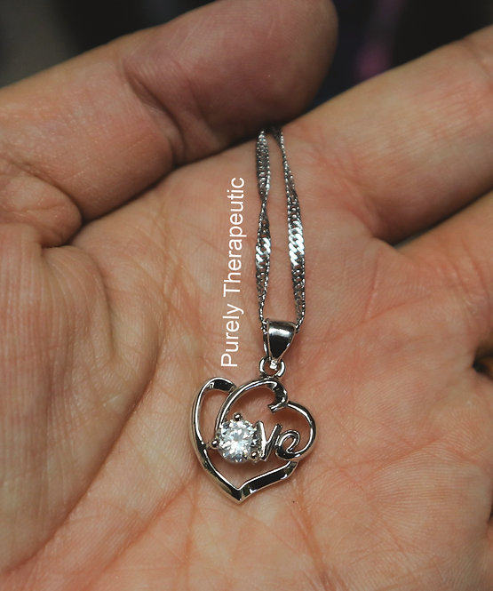 Heart Love Necklace Silver