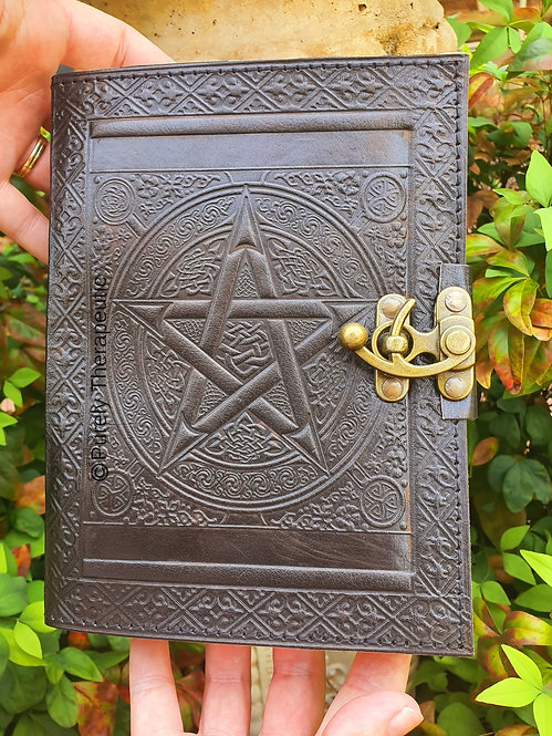 Pentagram Black leather writing diary journal book