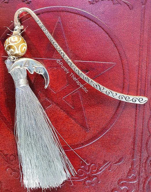 Crescent Moon Jade Bead Bookmark