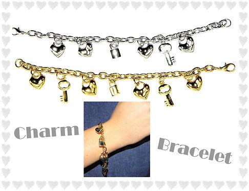 Locks, Keys & Hearts Charm Bracelet