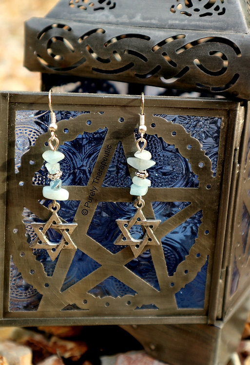 Star of David Aquamarine Gemstone Crystal Earrings
