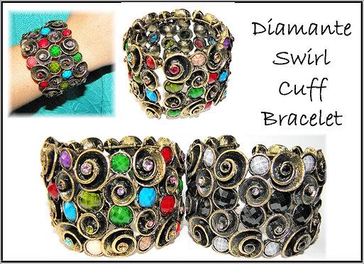 Diamante Swirl Cuff Bracelet