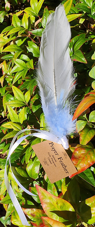 White and Blue Prayer Feather