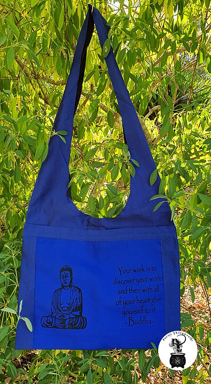 Buddha Inspirational Quote Shoulder Bag-Blue