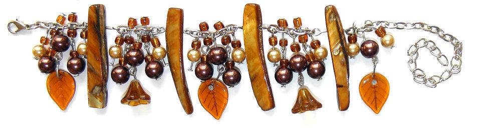 Brown Shell Bead Leaf Flower Bracelet