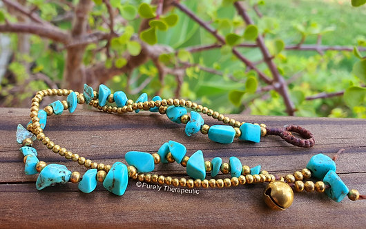 Blue Turquoise and Gold Bead Bracelet Wristband