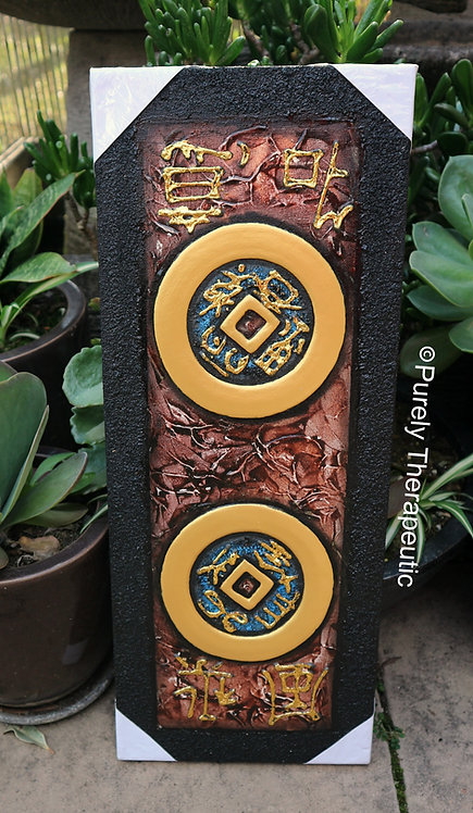 Double Feng Shui Coin Hand Painted Canvas Wall Hanging