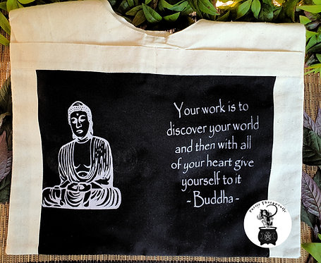 Inspirational Quote Shoulder Bag-Cream
