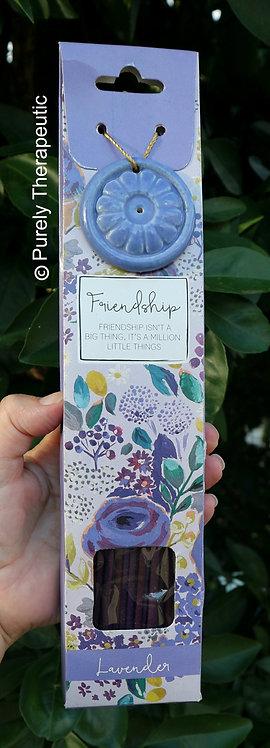 Friendship Lavender Incense sticks and holder