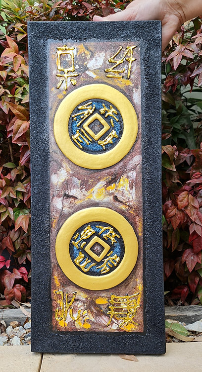 double feng shui coin wall hanging for good luck and prosperity