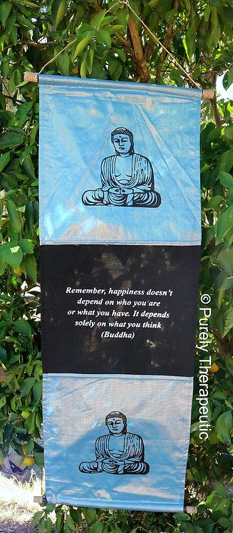 Shimmery Flag Buddha Wall Scroll
