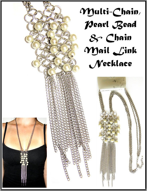 Multi Chain, Pearl & Chain Mail Link Necklace