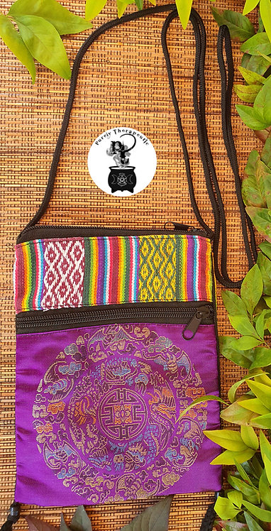 Zip Shoulder Bag Purple Mandala