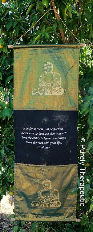 Buddha Black and Green Wall Flag