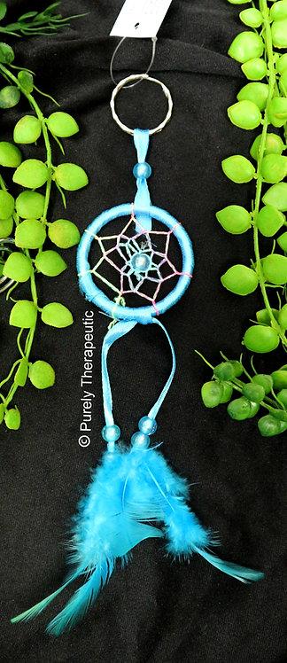 Rainbow Web Dream Catcher Key Ring~Blue
