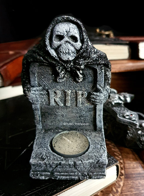 Tombstone RIP Skull Gothic Tealight candle holder