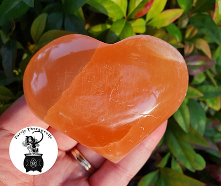 Crystal Orange Selenite Heart