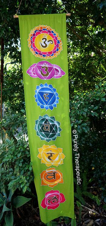 Green Lotus Flower Chakra Reiki Flag Scroll