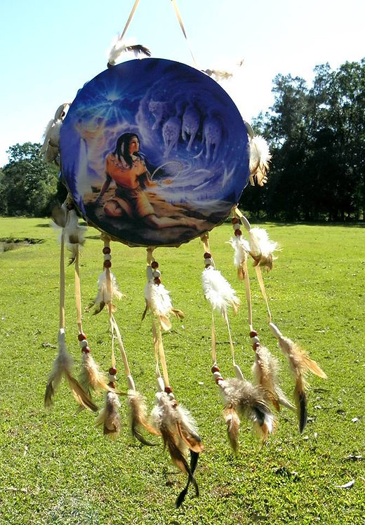 Squaw with Wolf Pack Spirit Guide Drum Dream Catcher